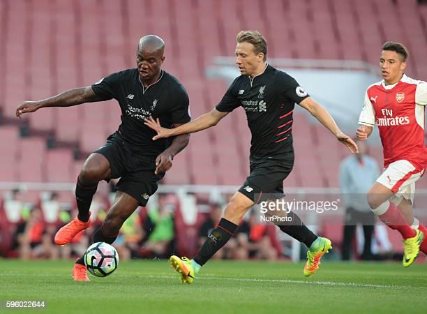 LR Liverpool's U23s Matthew Virtue and Liverpool's U23s Lucas Leiva during Premier League 2 match between Arsenal U23 v Liverpool U23 at Emirates...