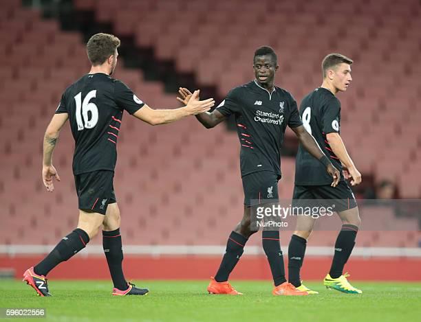 Liverpool's U23s Toni Gomes celebrates his goal during Premier League 2 match between Arsenal U23 v Liverpool U23 at Emirates stadium London on...