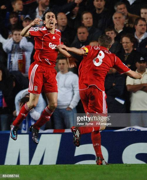 Liverpool's Yossi Benayoun celebrates with team mate Steven Gerrard after Liverpool score an equalising goal