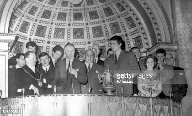 Liverppol manager Bill Shankly addressing the guests who welcomed the Liverpool team at a civic reception at the Town Hall on their return to...