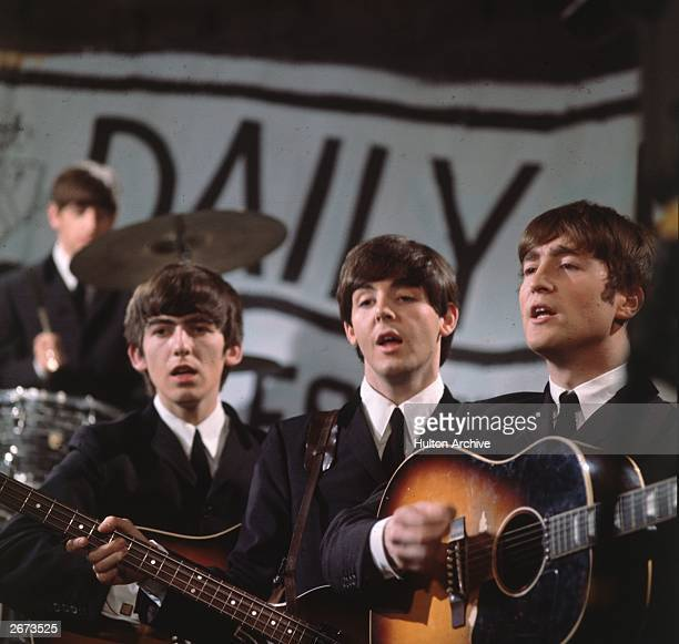 Liverpudlian pop group The Beatles on Granada TV's Late Scene Extra television show filmed in Manchester England on November 25 1963