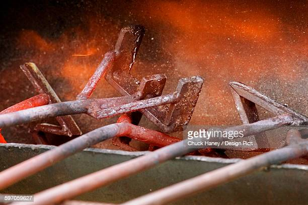 Livestock - Branding irons in the heating fire during branding operations on a cattle ranch / near Stanford, Montana, USA.