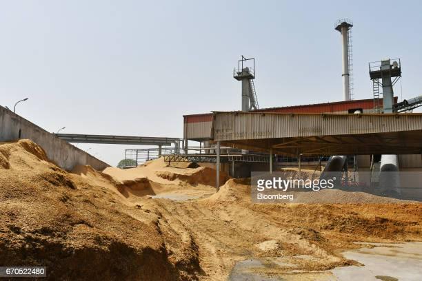 Livestock feed sits in a yard at a plant operated by Allana Group in Aligarh Uttar Pradesh India on Tuesday April 11 2017 Allana a private company...