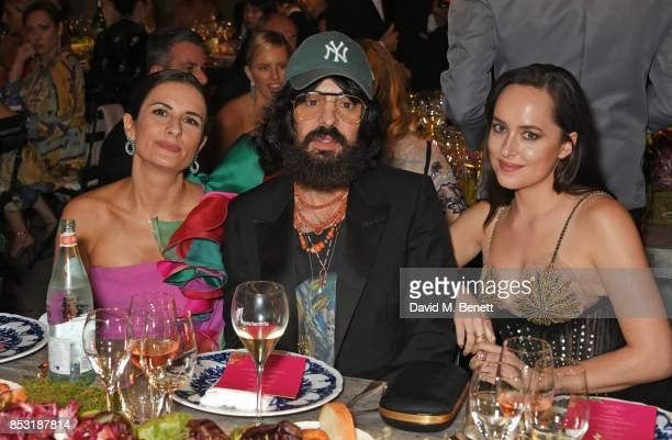 Livia Firth Alessandro Michele Gucci Creative Director and Dakota Johnson attend a private dinner hosted by Livia Firth following the Green Carpet...