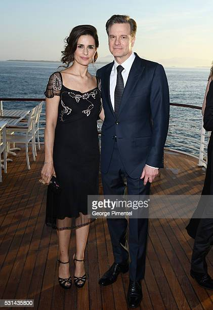 Livia Firth and actor Colin Firth attend Vanity Fair and HBO Dinner Celebrating the Cannes Film Festival at Hotel du CapEdenRoc on May 14 2016 in Cap...