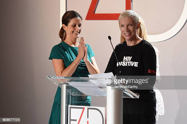 Livia Firth and Annie Lennox appear onstage during Fashion 4 Development's 6th Annual Official First Ladies Luncheon on September 21 2016 in New York...