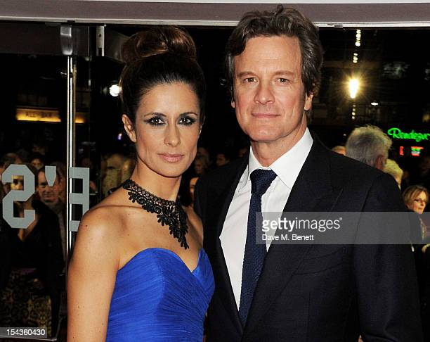 Livia Firth and Colin Firth attend the Gala Premiere of 'Crossfire Hurricane' during the 56th BFI London Film Festival at Odeon Leicester Square on...
