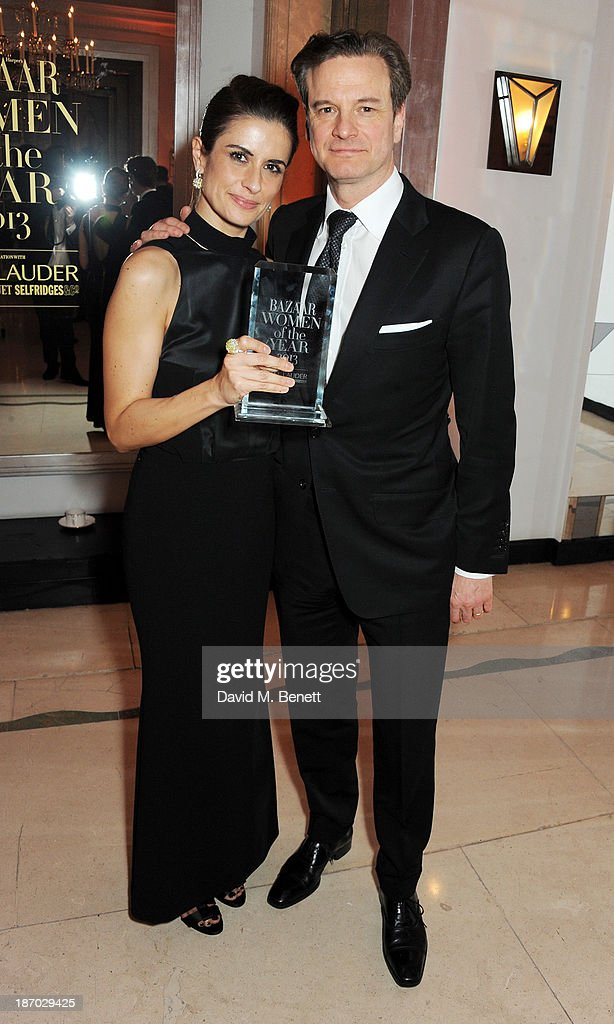 Livia Firth (L) and <a gi-track='captionPersonalityLinkClicked' href=/galleries/search?phrase=Colin+Firth&family=editorial&specificpeople=201620 ng-click='$event.stopPropagation()'>Colin Firth</a> attends the Harper's Bazaar Women of the Year awards at Claridge's Hotel on November 5, 2013 in London, England.
