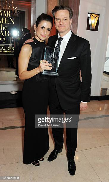 Livia Firth and Colin Firth attends the Harper's Bazaar Women of the Year awards at Claridge's Hotel on November 5 2013 in London England