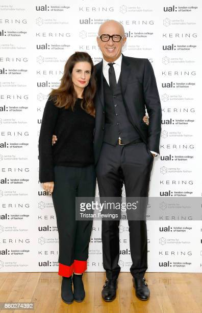 Livia Firth and Marco Bizzarri attend the 2017 Kering Talk at the London College of Fashion on October 11 2017 in London England