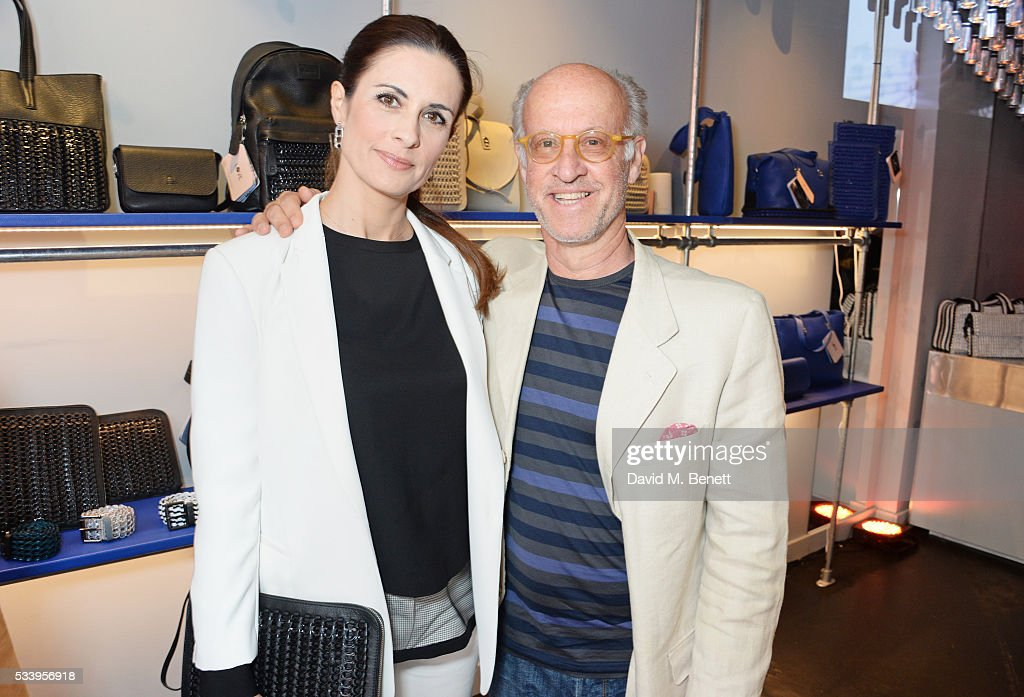 Livia Firth (L) and Roger Saul attend the Bottletop Regent Street store launch on May 24, 2016 in London, England.