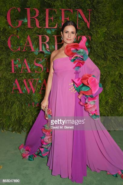 Livia Firth attends the Green Carpet Fashion Awards Italia wearing Roberto Capucci for the Green Carpet Challenge at Teatro Alla Scala on September...