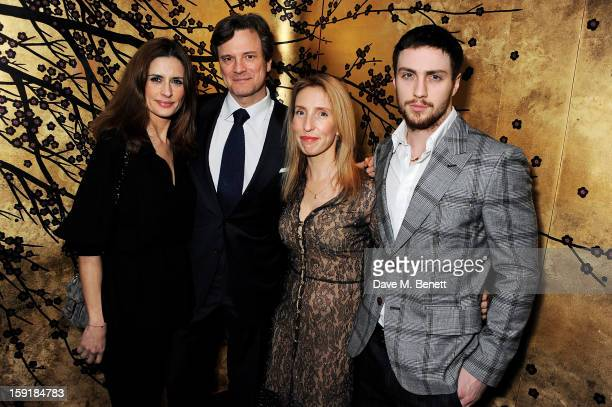 Livia Firth Colin Firth Sam TaylorWood and Aaron TaylorJohnson attend a private dinner hosted by Tom Ford to celebrate his runway show during London...