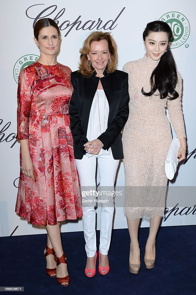 Livia Firth CoPresident of Chopard Caroline GruosiScheufel and Fan Bingbing attend the Chopard Lunch during the 66th Annual Cannes Film Festival on...