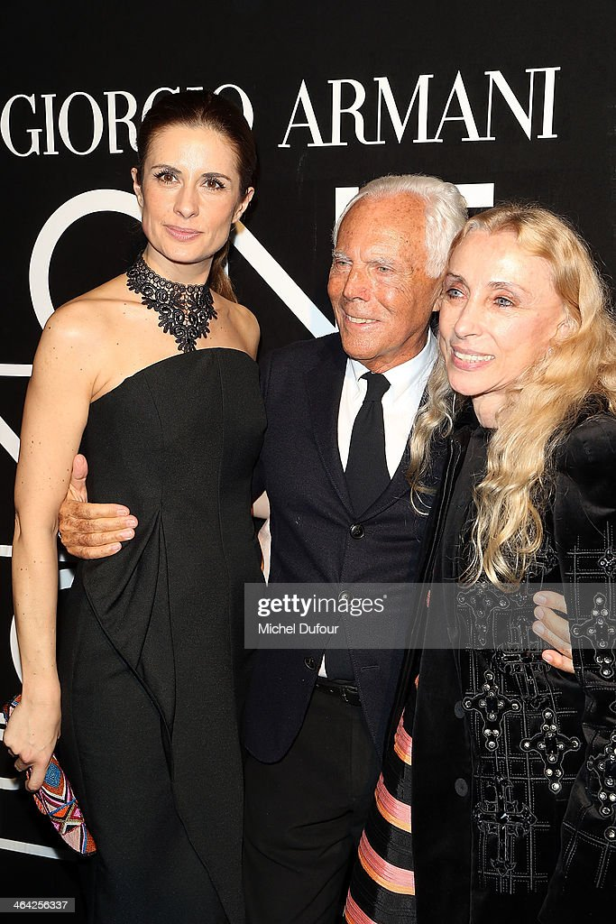 Livia Firth, <a gi-track='captionPersonalityLinkClicked' href=/galleries/search?phrase=Giorgio+Armani&family=editorial&specificpeople=4155761 ng-click='$event.stopPropagation()'>Giorgio Armani</a> and <a gi-track='captionPersonalityLinkClicked' href=/galleries/search?phrase=Franca+Sozzani&family=editorial&specificpeople=639425 ng-click='$event.stopPropagation()'>Franca Sozzani</a> attend the <a gi-track='captionPersonalityLinkClicked' href=/galleries/search?phrase=Giorgio+Armani&family=editorial&specificpeople=4155761 ng-click='$event.stopPropagation()'>Giorgio Armani</a> Prive show as part of Paris Fashion Week Haute Couture Spring/Summer 2014 on January 21, 2014 in Paris, France.