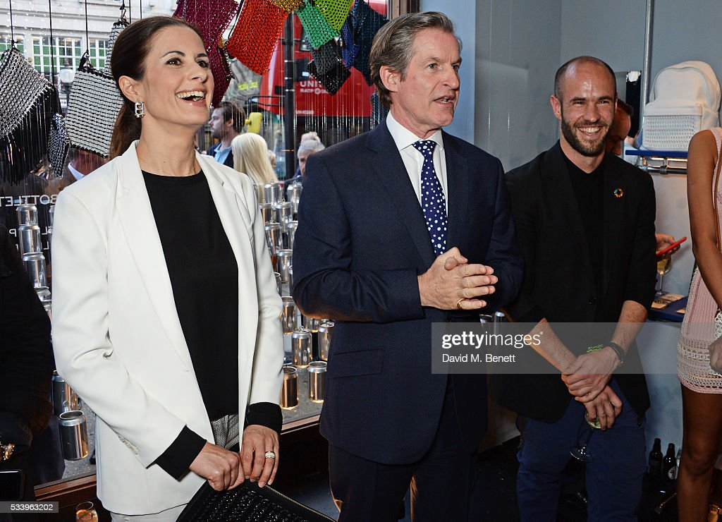 Livia Firth, Iain Renwick and Cameron Saul attend the Bottletop Regent Street store launch on May 24, 2016 in London, England.