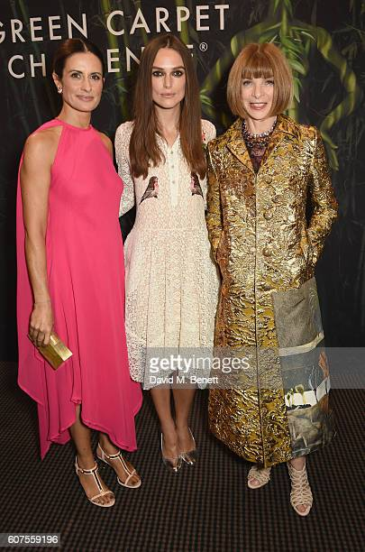 Livia Firth Keira Knightley and Amanda Berry attend the Green Carpet Challenge 2016 BAFTA Night to Remember on September 18 2016 in London England