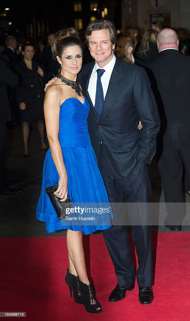Livia Giuggiol and Colin Firth attend the Premiere of 'Crossfire Hurricane' during the 56th BFI London Film Festival at Odeon Leicester Square on October 18, 2012 in London, England.