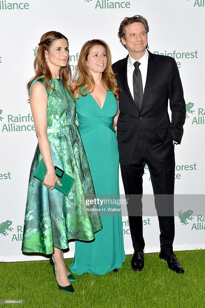 Livia Giuggioli, Ana Paula Taveres and Colin Firth attend the 2014 Rainforest Alliance Gala at American Museum of Natural History on May 7, 2014 in New York City.