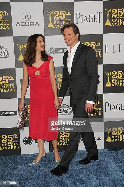 Livia Giuggioli and actor Colin Firth arrive at the 25th Film Independent Spirit Awards sponsored by Piaget held at Nokia Theatre LA Live on March 5...