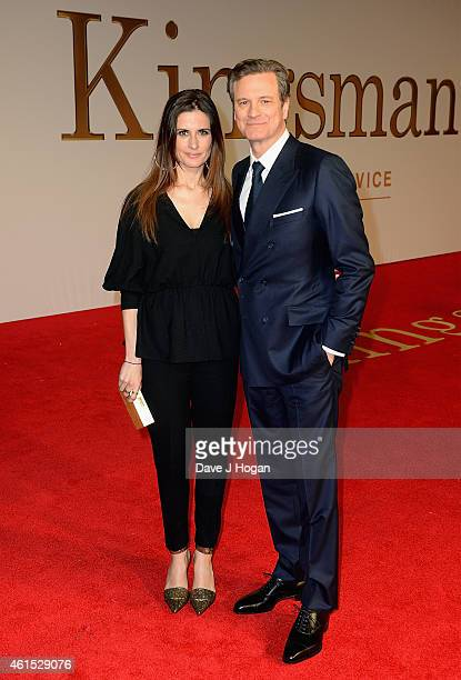 Livia Giuggioli and actor Colin Firth attend the World Premiere of 'Kingsman The Secret Service' at the Odeon Leicester Square on January 14 2015 in...