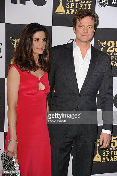 Livia Giuggioli and Colin Firth arrive at the 25th Film Independent Spirit Awards held at Nokia Theatre LA Live on March 5 2010 in Los Angeles...