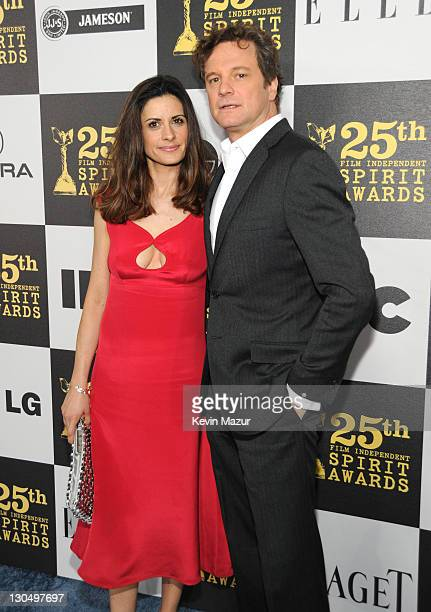 Livia Giuggioli and Colin Firth arrives at the 25th Film Independent Spirit Awards held at Nokia Theatre LA Live on March 5 2010 in Los Angeles...