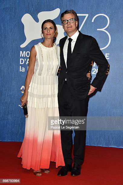 Livia Giuggioli and Colin Firth attend the premiere of 'Franca Chaos And Creation' during the 73rd Venice Film Festival at Sala Giardino on September...