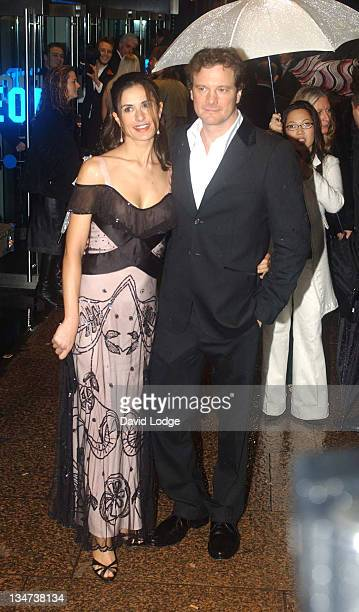 Livia Giuggioli and Colin Firth during 'Bridget Jones the Edge of Reason' Premiere Arrivals at Odeon Leicester Square in London Great Britain
