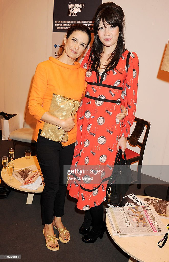Livia Giuggioli and Daisy Lowe attend a preshow drinks reception at the Graduate Fashion Week 2012 Gala Show at Earls Court 2 on June 13 2012 in...