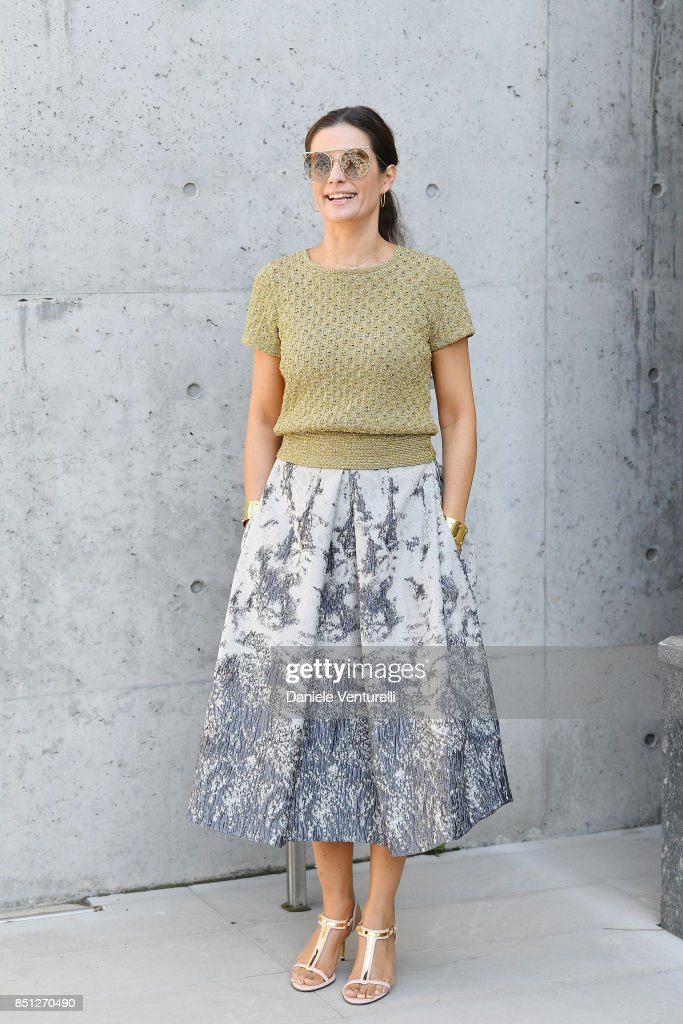 Livia Giuggioli Firth attends the Giorgio Armani show during Milan Fashion Week Spring/Summer 2018 on September 22, 2017 in Milan, Italy.