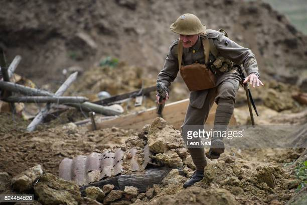 'Living History' actors recreate the 'Passchendaeale Battlefield Experience' on July 30 2017 in Ypres in the Ypres Salient battlefields area of...