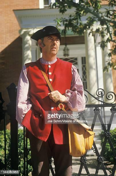 Living history participant posing in Williamsburg Virginia recreating colonial life