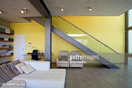 Living room and staircase in contemporary house : Stock-Foto