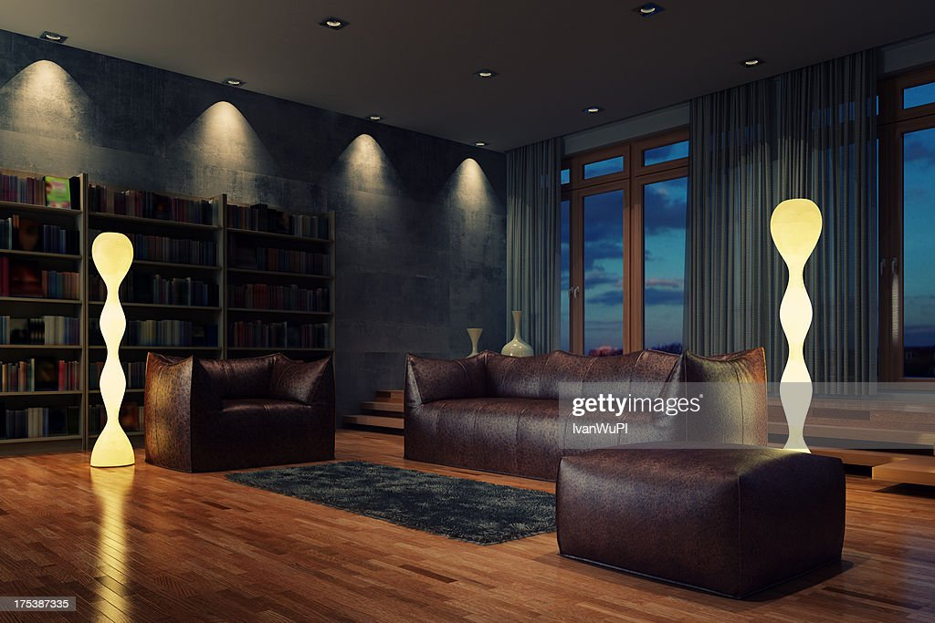 Living Room At Night Stock Photo Getty Images