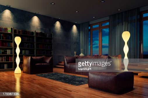 Leather wood stock photos and pictures getty images for Living room night