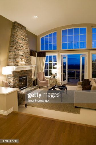 Living Room Fireplace Mansion House Stock Photo