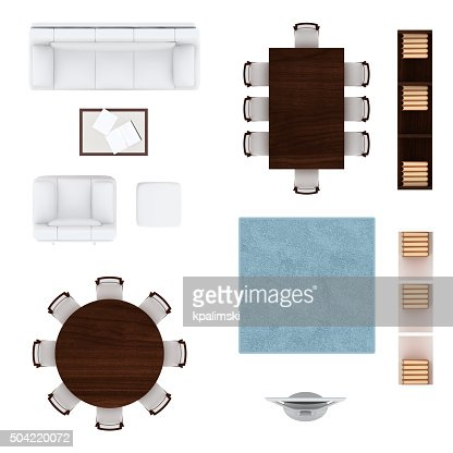 Living Room Furniture Top View Collection Stock Photo