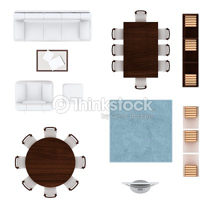 Living room furniture top view collection stock photo for Dining table plan view