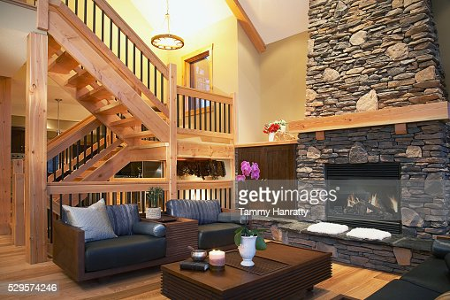 Living room in chalet : Stock Photo