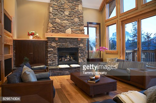 Living room in chalet : Stock-Foto