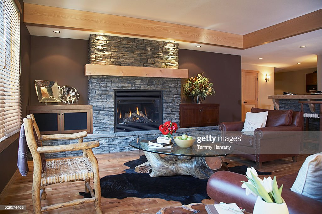 Living room in chalet : Foto de stock
