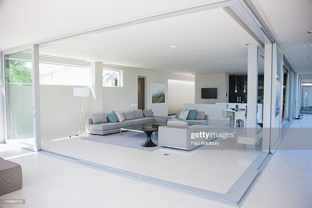 Living room in modern home : Stock Photo