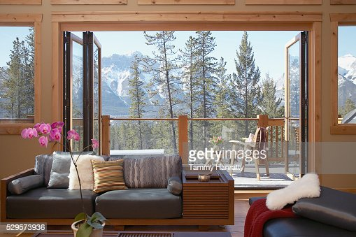 Living room in mountains : Stock Photo
