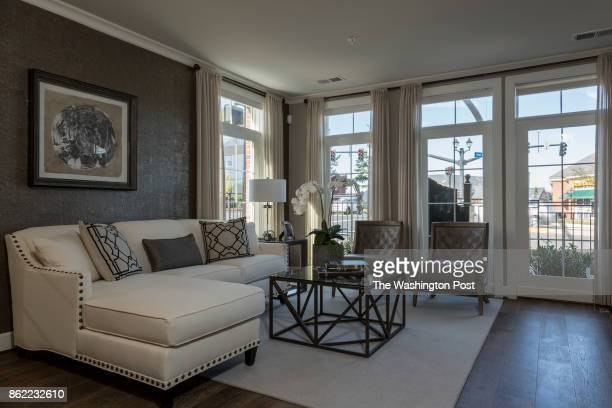 Living Room in the model Townhome at Mayfair on Main Street on September 29 2017 in Fairfax Virginia