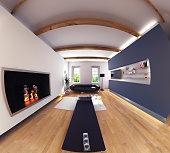 modern design living room interior. Fish eye effect.3d design concept