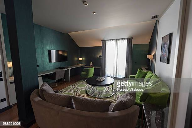 Living room of CR7 Cristiano Ronaldo Suite at Pestana CR7 Lisboa Hotel on August 11 2016 in Lisbon Portugal Pestana CR7 Lisboa Hotel a Lifestyle...