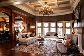 Living room of mansion with hardwood floors and library walls.