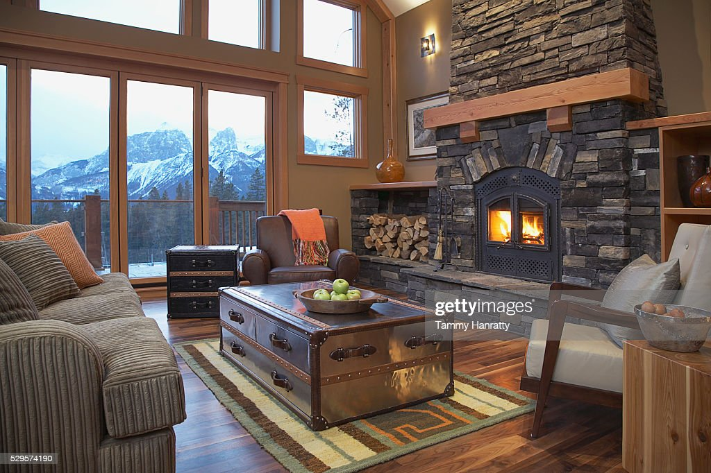 Living room of mountain chalet : Stock Photo