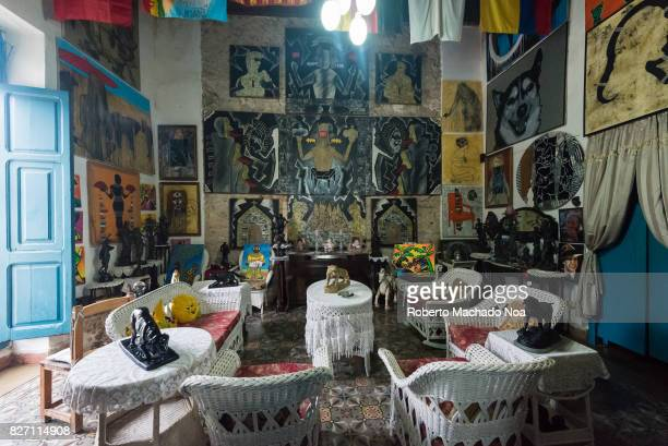 Living room of the Ileana Sanchez and Joel Jover house The Cuban artists collect old objects and their house is a tourist attraction They use the...